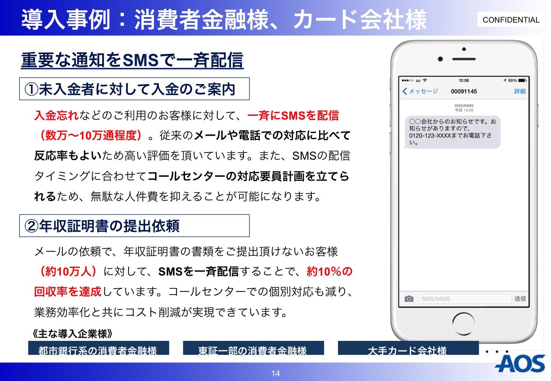 AOS SMS導入事例 消費者金融