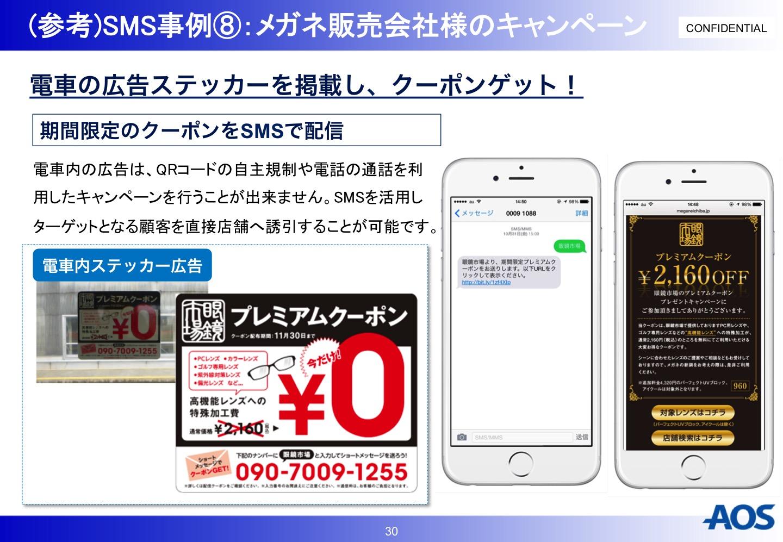 AOS SMS事例 メガネ販売会社