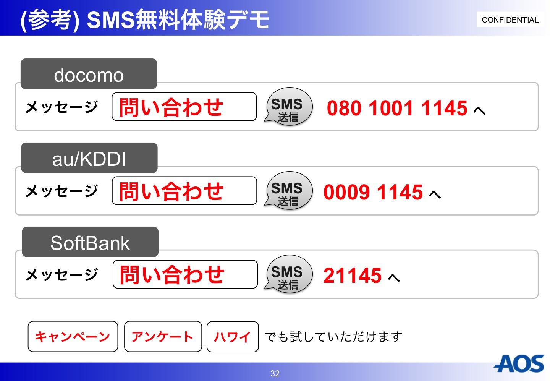 AOS SMS無料体験デモ
